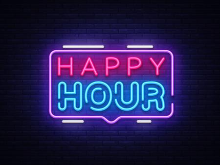Illustration for Happy Hour neon sign vector design template. Happy Hour neon logo, light banner design element colorful modern design trend, night bright advertising, brightsign. Vector illustration - Royalty Free Image