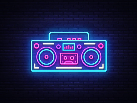 Ilustración de Tape recorder neon signboard vector. Retro Music neon glowing symbol, Retro Style 80-90s Light Banner, neon icon, design element. Vector illustration. - Imagen libre de derechos