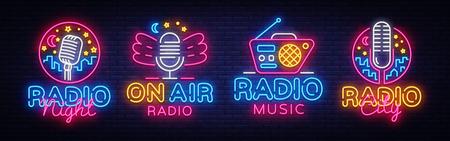 Illustration pour Radio Neon Sign collection Vector. Radio Night neon logos, design template, modern trend design, Radio neon signboard, night bright advertising, light banner, light art. Vector illustration. - image libre de droit