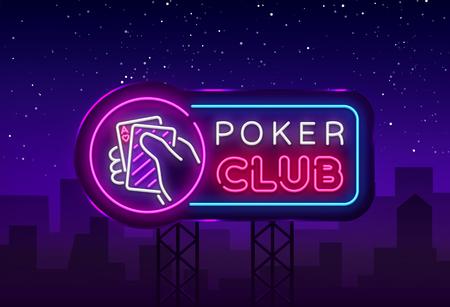 Illustration for Poker neon sign design vector template. Casino Poker Night Logo, Bright Neon Signboard, Design Element for Casino, Gambling Neon, Bright Night Advertising. Vector Illustration. Billboard. - Royalty Free Image