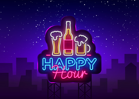 Ilustración de Happy Hour neon sign vector. Happy Hour Design template neon sign, Night Dinner, celebration light banner, neon signboard, nightly bright advertising, light inscription. Vector Billboards. - Imagen libre de derechos