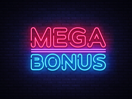 Illustration for Mega Bonus neon sign vector. Bonus neon text Design template neon sign, light banner, neon signboard, nightly bright advertising, light inscription. Vector Illustration. - Royalty Free Image