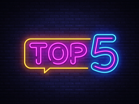 Top 5 Neon Text Vector. Top Five neon sign, design template, modern trend design, night neon signboard, night bright advertising, light banner, light art. Vector illustration.