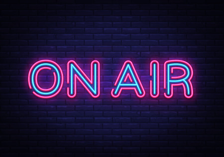 Illustration pour On Air neon sign vector. On Air Radio Design template neon sign, light banner, neon signboard, nightly bright advertising, light inscription. Vector illustration. - image libre de droit