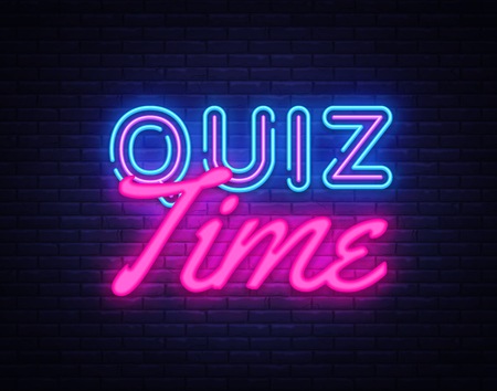 Quiz Time neon sign vector. Quiz Pub Design template neon sign, light banner, neon signboard, nightly bright advertising, light inscription. Vector illustration.