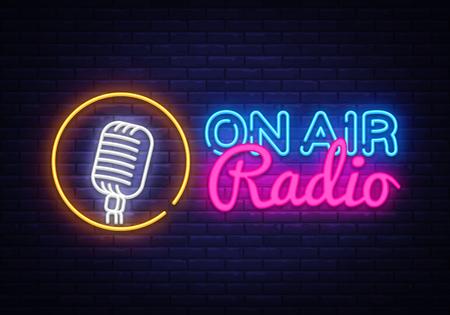 Ilustración de On Air Radio Neon Logo Vector. On Air Radio neon sign, design template, modern trend design, night neon signboard, night bright advertising, light banner, light art. Vector illustration - Imagen libre de derechos