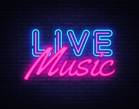 Illustration pour Live Music neon sign vector. Live Music Design template neon sign, light banner, neon signboard, nightly bright advertising, light inscription. Vector illustration. - image libre de droit