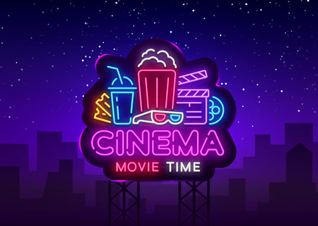 Illustration for Movie Time Neon Logo Vector. Cinema Night neon sign, design template, modern trend design, night neon signboard, night light advertising, light banner, light art. Vector illustration. Billboard. - Royalty Free Image