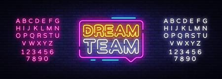 Ilustración de Dream Team Neon Text Vector. Dream Team neon sign, design template, modern trend design, night neon signboard, night bright advertising, light banner, light art. Vector. Editing text neon sign. - Imagen libre de derechos