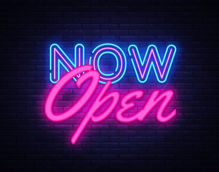 Ilustración de Now Open neon text vector design template. Now Open neon logo, light banner design element colorful modern design trend, night bright advertising, bright sign. Vector illustration. - Imagen libre de derechos