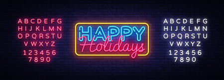 Illustration for Happy Holidays Neon Text Vector. Happy Holidays neon sign, design template, modern trend design, night neon signboard, night bright advertising, light banner. Vector. Editing text neon sign. - Royalty Free Image