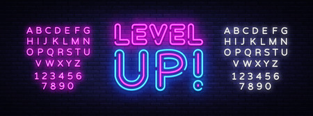Illustration pour Level Up Neon Text Vector. Level Up neon sign, design template, modern trend design, night neon signboard, night bright advertising, light banner. Vector illustration. Editing text neon sign - image libre de droit