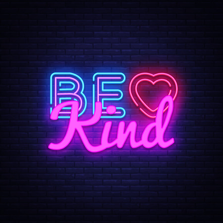 Be Kind neon sign vector. Be Kind Design template neon sign, light banner, neon signboard, nightly bright advertising, light inscription. Vector illustration.