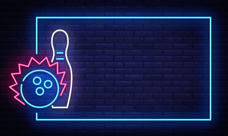 Illustration for Bowling neon sign vector. Neon Frame Bowling Club Design template, light banner, night signboard, nightly bright advertising, light inscription. Vector illustration. - Royalty Free Image