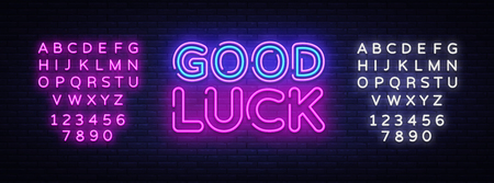 Illustration pour Good luck neon sign vector. Good luck Design template neon sign, light banner, neon signboard, nightly bright advertising, light inscription. Vector illustration. Editing text neon sign. - image libre de droit
