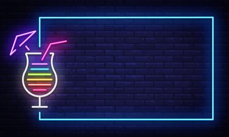 Illustration for Cocktail neon sign vector design template. Night Club neon frame light banner design element, colorful modern design trend, night bright advertising, bright sign. Vector illustration. - Royalty Free Image