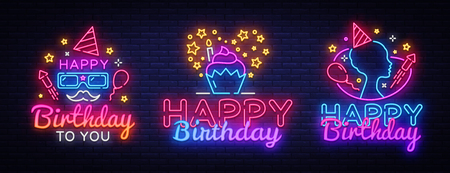 Illustration for Happy Birthday neon signs set design template. Big Collection Happy Birthday greeting cards, light banner design element colorful modern design trend, night bright advertising. Vector illustration. - Royalty Free Image