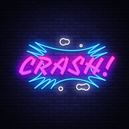 Illustration pour CRASH neon text vector design template. Comic speech bubble Crash in neon style, light banner design element colorful modern design trend, night bright advertising, bright sign. Vector illustration. - image libre de droit