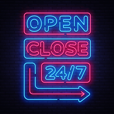 Ilustración de Open Close neon signs vector. Neon Signboards Design template, light banner, night signboard, nightly bright advertising, light inscription. Vector illustration - Imagen libre de derechos