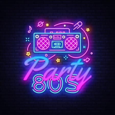 Ilustración de 80s Party Neon Sign Vector. Back to the 80s neon design template, modern trend design, night signboard, night bright advertising, light banner, light art. Vector illustration - Imagen libre de derechos