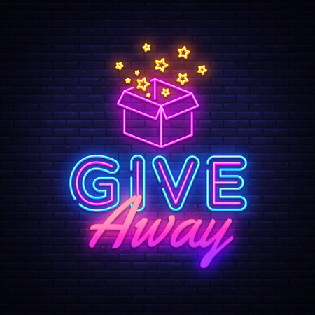 Illustration for Give Away neon sign vector design template. Blogging neon logo, light banner design element colorful modern design trend, night bright advertising, bright sign. Vector illustration. - Royalty Free Image