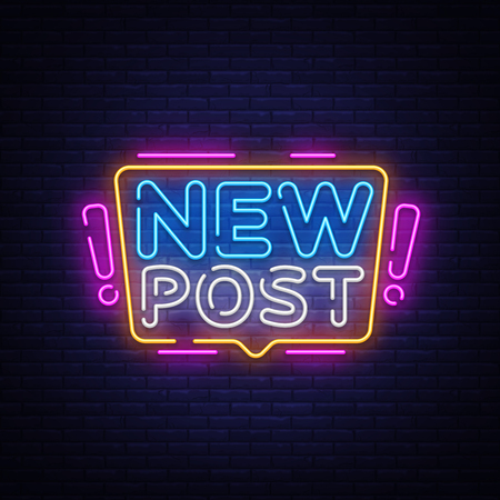 Illustration for New Post Neon Text Vector. Blogging neon sign, design template, modern trend design, night signboard, night bright advertising, light banner, light art. Vector illustration. - Royalty Free Image