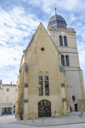 Tower of Saint Nicolas, Church in Paray-Le-Monial, Saone-et-Loire, burgundy, France  Colour, vertical