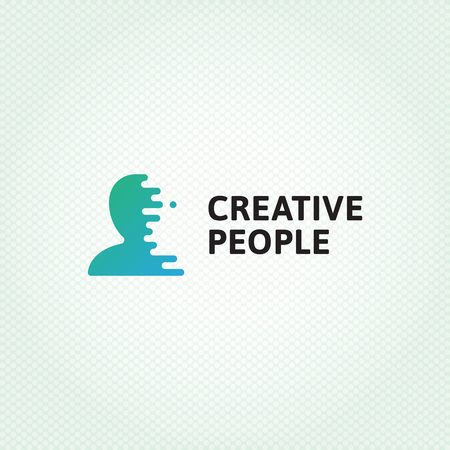 Illustration pour Creative People logo design template. Vector human silhouette logotype illustration with digital lines. Graphic user icon for web company, HR agency, media brand. Man head brain symbol, label, sign - image libre de droit