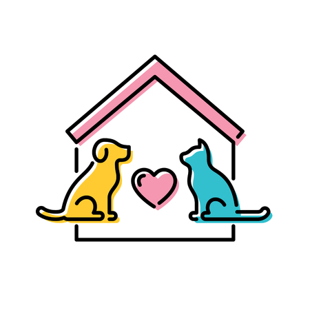 Illustration pour Vector Adopt A Pet design poster with cat and dog. Don't Buy banner. Line icon illustration with house and heart on background. Colorful linear pictogram banner showing animal adoption, homeless help - image libre de droit
