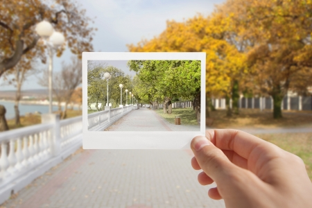 Holding Instant photo on a autumn background