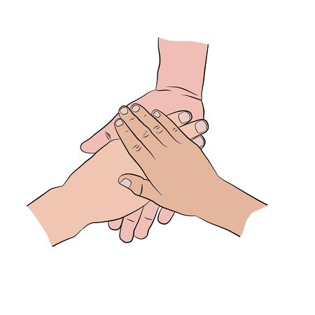Hands on top of each other. Three hands