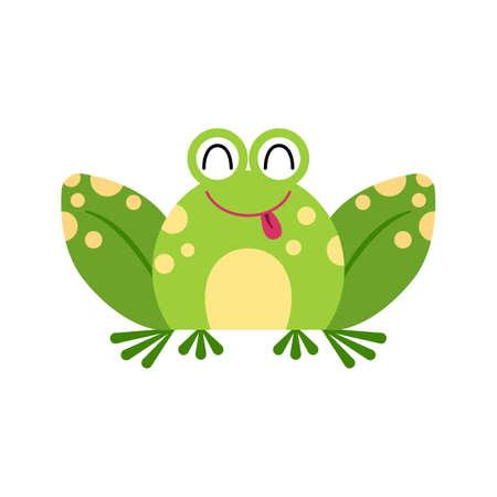 Illustration pour Illustration portrait of frog. Cute teasing frog face. - image libre de droit