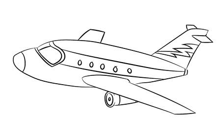 Ilustración de Air plane Black and White Cartoon Vector Illustration for Coloring Book - Line Drawn Vector - Imagen libre de derechos