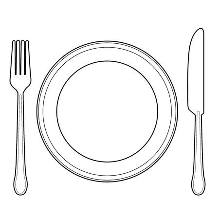 Vektor für Empty plate with knife and fork - Lizenzfreies Bild