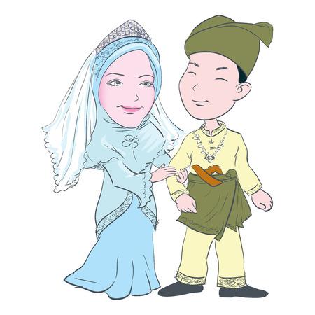 Ilustración de Cartoon of Malay couple wedding in wearing traditional costumes, for Asian Traditional Cultural - Hand drawn Vector Illustration. - Imagen libre de derechos