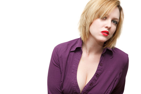 Redhead with Cleavage Isolated on white