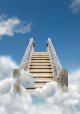 Steps heading upwards into the sky.