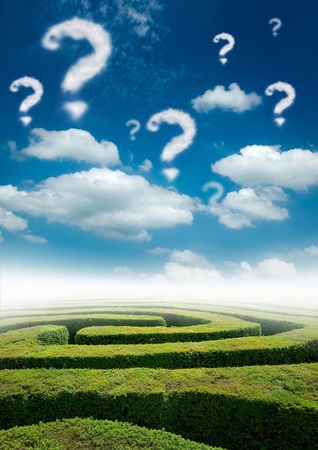 Photo for A maze under a blue sky with question mark clouds. - Royalty Free Image