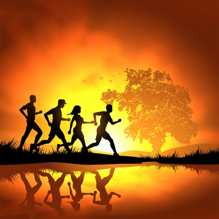 Foto de People running cross country. Vector illustration. - Imagen libre de derechos