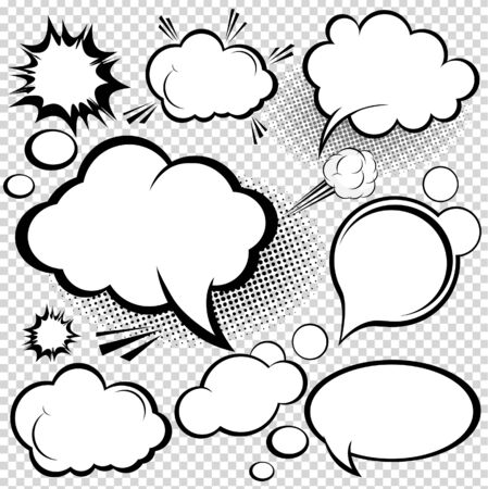 A collection of comic style speech bubbles. illustration.