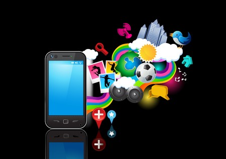 Elements flowing from a mobile phone. Vector illustration. Individual elements grouped.