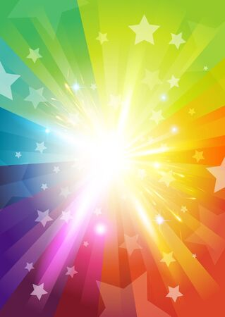 Colour Burst Background - with stars and transparencies