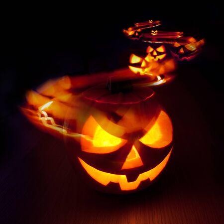 Halloween Jack - O - Lantern light trails