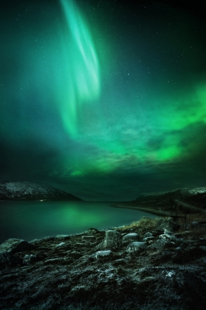 The Northern Lights  aurora borealis  as seen from Northern Norway  Contains Noise