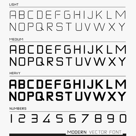 Modern Font, with numbers and the alphabet  illustration