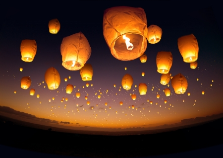 A large group of chinese flying lanterns