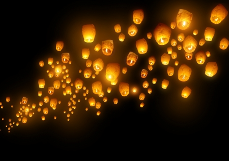 Mass group of flying wishes  chinese lanterns