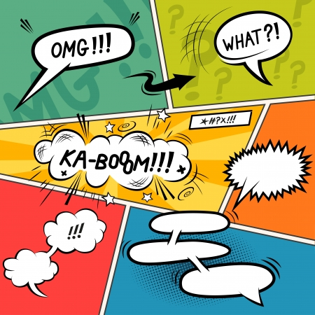 Comic Speech Bubbles. Layered vector illustration.