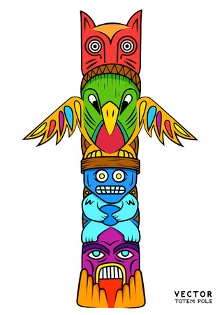a Bright and colourful Totem Pole.