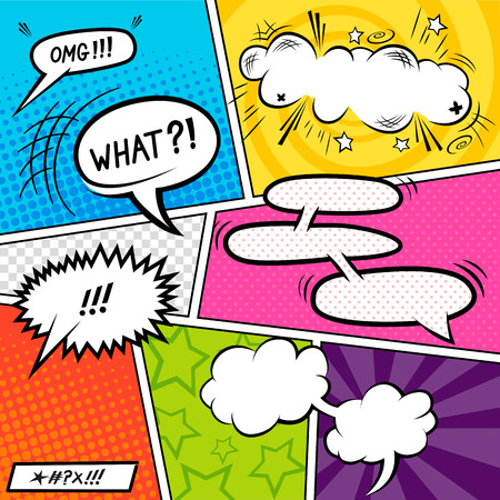 Bright Comic book Elements with speech bubbles illustration.